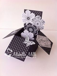 "The Crazy Crafters January Blog Hop project. Theme ""Black and White"" Card in a Box using Stampin Up items."