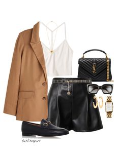 Brown Shorts Outfit, Black Loafers Outfit, Leather Shorts Outfit, Brown Outfit, Blazer Outfits For Women, Short Outfits, Kpop Fashion Outfits, Stylish Outfits, Outing Outfit