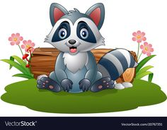 Cartoon raccoon in the forest Royalty Free Vector Image Easy Disney Drawings, Art Drawings For Kids, Cute Drawings, Cute Animals Images, Cute Animal Pictures, Cute Images, Clipart Boy, Cute Clipart, Baby Room Pictures