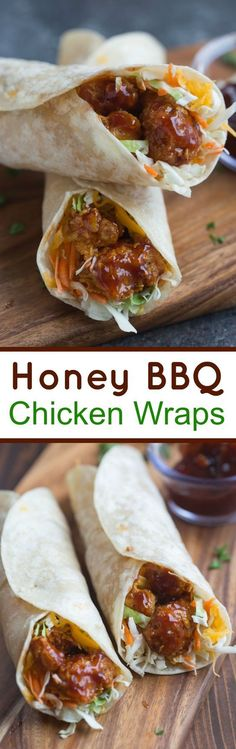 Honey BBQ Chicken Wraps made with crispy baked chicken smothered in a simple homemade honey bbq sauce.   Tastes Better From Scratch