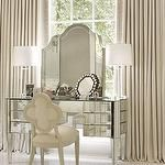 Lovely softened monochromatic palette, clear glass lamps & mirrored furniture: Atlanta home, Architectural Digest. VIa Georgiana Design. Home Interior, Interior Decorating, Interior Design, Decorating Ideas, Mirrored Furniture, Mirrored Vanity, Glass Vanity, Mirrored Table, Metallic Furniture