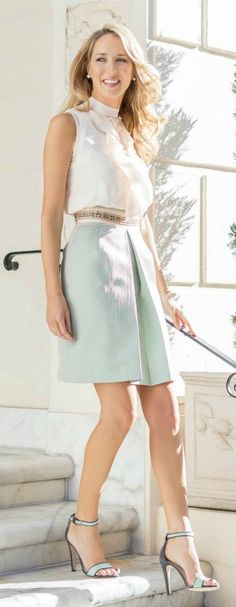 center pleat mint green jacquard skirt with pale peach blush ruffle front sleeveless silk blouse + mint green and grey ankle strap heeled sandals