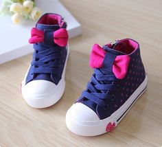 2014 NEW Fall Kids Toddler Girls Mid-top Polka Dot Bow