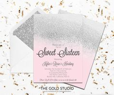 30 best sweet 16 invitations images on pinterest invitation design instant download sweet 16 pink silver glitter invitation sweet sixteen editable template elegant editable in word and pages on pc and mac stopboris Images