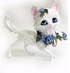 Cat figurine,white cat figurine,kitten with flowers forget-me-nots,cat sculpture,cat statuette. Kitty made of lightweight and pleasant to touch material - velvet plastic. In addition to the red color, you can make cat or cat in any color, including pictures of Your pet. In addition, you can make a cat or kitten for pictures (with preservation of non-cartoony proportions of the animal). In order to make the size from 2 cm to a meter and a half. You can also make a cat in the picture or…