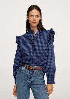 Ruffles printed blouse - Women   Mango USA Mango France, Gingham Check, Printed Blouse, Shirt Blouses, Blouses For Women, Ruffles, Print Design, Long Sleeve, Model