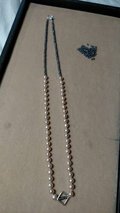silk, sterling silver, Champagne fresh water pearls, Charlotte seed beads