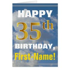 Bold Cloudy Sky Faux Gold 35th Birthday  Name Card - birthday cards invitations party diy personalize customize celebration