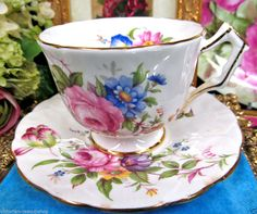AYNSLEY TEA CUP AND SAUCER CROCUS SHAPE ROSES FLORAL PATTERN TEACUP