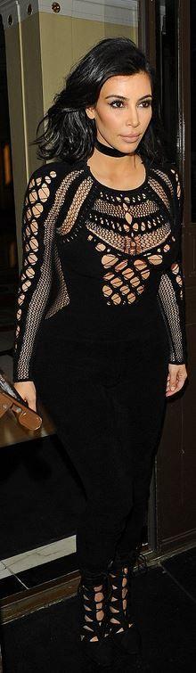 Kim Kardashian: Jumpsuit – Julien MacDonald  Shoes – Alaia