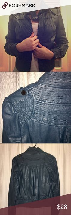 Super cute faux leather jacket! Beautiful dark turquoise color. 2nd picture shows actual color the best. Only worn once. Like new! Forever 21 Jackets & Coats