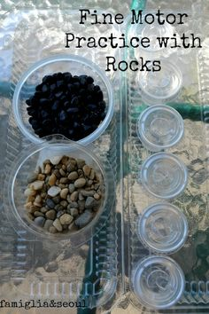 famiglia: Fine Motor Practice with Rocks ~ a simple activity to set up for your toddler!