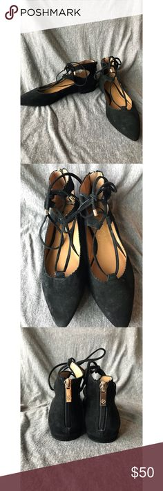Arturo Chiang Flats Arturo Chiang Flats Size 6.5 Zipper in back Cross lace up in front Worn 3 times🖤 Arturo Chiang Shoes Flats & Loafers