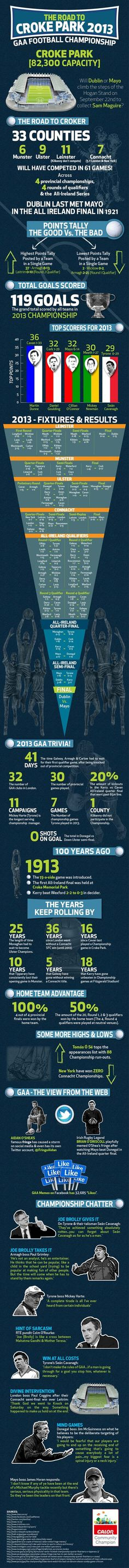 The Road To Croke Park GAA Football Championship. All The 2013 Gaelic Football Championship In One Giant Infographic. Croke Park, Irish Culture, Championship Game, My Favorite Image, Im Trying, Trivia, Growing Up, Ireland, Football