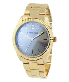 This Gold & Blue Bracelet Watch is perfect! #zulilyfinds
