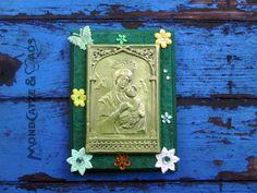 """Wand-Deko - Vintage Heiligenbild """" Mary in the field of Flowers """" - ein Designerstück von Mondcatze-and-Maos bei DaWanda"""