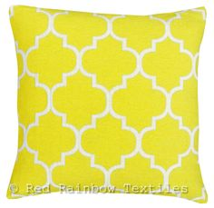 Yellow & White 18  Luxury Chenille Moroccan Design Geometric Cushion Cover