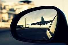 I'm not sure I'd want to see this plane in mirror. Too close! Drive All Night, Airplane Photography, Photography Ideas, Aesthetic Photography Nature, Girl Guides, Japanese Cars, Car Mirror, Adventure Is Out There, Color Of Life