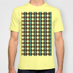 Argyle shirt with replaceable color swatches in the argyle. Patterned t-shirt.