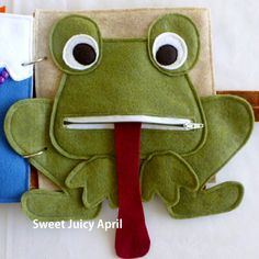 Frog page. Frog with zipper mouth and tongue that can come out and be put back in (it is sewn inside the mouth and cannot be completely removed).