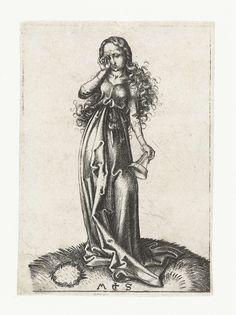 Martin Schongauer | De derde dwaze maagd, Martin Schongauer, 1470 - 1490 | Een van de vijf dwaze maagden uit de bijbelse gelijkenis, een olielampje omgekeerd in de hand, met de andere hand in haar oog wrijvend. Deze prent is onderdeel van een serie van tien prenten, vijf met wijze maagden en vijf met dwaze maagden.