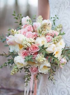 A blush wedding bouquet. Perfect for a spring wedding. Summer Wedding Bouquets, Bride Bouquets, Floral Bouquets, Pastel Bouquet, Tulip Bouquet Wedding, Greenery Bouquets, Blush Bouquet, Bouquet Flowers, Wedding Dresses