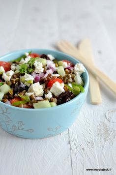 Salade de lentilles au salakis - Recette - Marciatack.fr : recettes faciles | Tout pour cuisiner !
