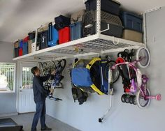 Home theaters hacks SafeRacks Overhead Garage Storage Rack Heavy Duty Ceiling Drop) Only 10 In Stock Order Today! Product Description: **SafeRack 4 x 8 Heavy Duty Overhead Garage Storage Rack is designed to he Overhead Storage Rack, Garage Storage Racks, Garage Organization Tips, Garage Storage Solutions, Garage Shelving, Cheap Storage, Storage Hooks, Garage Ceiling Storage, Storage Organizers