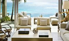 west indies villa decor sophisticate living room neutral decor luxury villa interior design infinity pool home design four poster bed beachfront villas Top Interior Designers, Commercial Interior Design, Commercial Interiors, Outdoor Seating Areas, Outdoor Spaces, Outdoor Living, Indoor Outdoor, Outdoor Patios, Outdoor Life