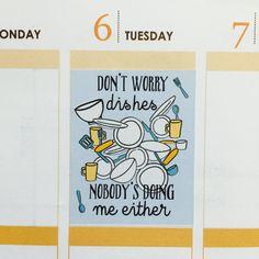 Q8 Full Box Dishes Quote Planner Stickers for Erin Condren, Day Designer, Filofax planners