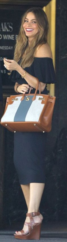 Who made Sofía Vergara's blue stripe handbag and brown wedge sandals?