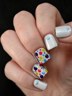 skittlette nails with dotty features to test out duri brush n go topcoat