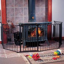 Babyproofing a Wood Stove ideas to babyproof a woodstove - think about this for next winter, when we Fireplace Gate, Stove Fireplace, Baby Gates, Dog Gates, Pellet Stove, Fireplace Accessories, Childproofing, Cabins In The Woods, A 17