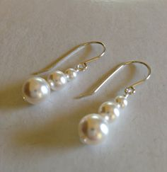 Silver Pearl Earring, sterling earring, pearl earring, drop earring, dangle earring, silverbymaggie, bridal jewelry, swarovski pearls, chic by SilverByMaggie on Etsy