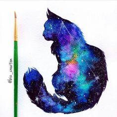 """Galaxy Cat"" by Biz's Creation Cute Animal Drawings, Art Drawings, Create My Tattoo, Watercolor Galaxy, Tattoo Watercolor, Cat Tattoo Designs, Galaxy Cat, Black Cat Art, Drawing Journal"