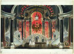 "Painting, ""Stage Design: ""Pique Dame"" for Metropolitan Opera"", ca… Toy Theatre, Theater, Set Design Theatre, Stage Design, Dark Fantasy Art, Royal Ballet, Stage Set, Body Painting, Scenic Design"