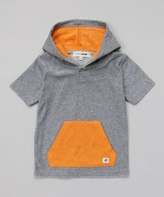 Gray & Orange Hooded Henley Tee - Toddler & Boys by Hang Ten Gold #zulily #zulilyfinds