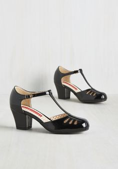 Shimmer Down Now Heel in Black Gloss. Whoa there, lady thang, we know youre excited about these sleek black heels by Bait Footwear, but lets try to keep it cool. #black #modcloth