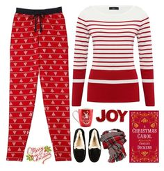 """""""Red & White"""" by montse-gallardo ❤ liked on Polyvore featuring M&Co, UGG and National Tree Company"""