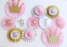 Princess Party Decorations - Princess Baby Shower - Princess Birthday -Princess Party - Paper Rosettes - Paper Fans - Pinwheel Backdrop by PoshSoiree on Etsy https://www.etsy.com/listing/474694611/princess-party-decorations-princess-baby