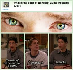 "Benedict Cumberbatch + HIMYM: ""What is the color of Benedict Cumberbatch's eyes?"" ""The color of the ocean after a storm."" ""Which is...?"" ""...beautiful."" (gif)"