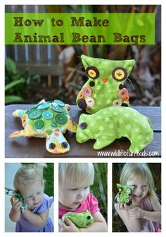 Make your own bean bags -  with free sewing templates.