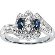 1/3 Carat T.W. Diamond Ring with Sapphire Side Stones in Sterli…  $199.00