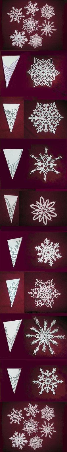 Flocos de neve feitos com papel recortado