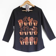 COPPER CACTUS top. Black womens top with Cactus print in