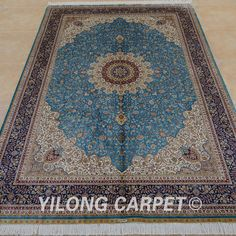 Yilong 6'x9' Persian Silk Rugs Hand Knotted Blue Classic Carpets Handmade 0746