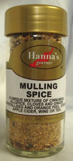 MULLING SPICE: a unique mixture of Cinnamon, Allspice, Cloves and Ginger Crystallized. Steep in Apple Cider, Wine or Tea.  $4.59