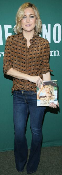 Who made  Kate Hudson's brown print shirt?