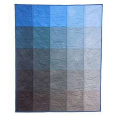 "Paint Chip Quilt in Blue by Kim Eichler-Messmer: Hand dyed and hand made. Measures 40 x 50"". 100% cotton. #Quilt #Paint_Chip_Quilt #Kim_Eichler_Messmer"