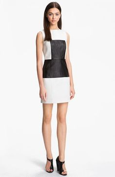 #Party- Would not be my first choice. I'm more of a color girl. Yet, I like the look///  Tibi Paneled Leather & Cotton Dress available at Nordstrom.